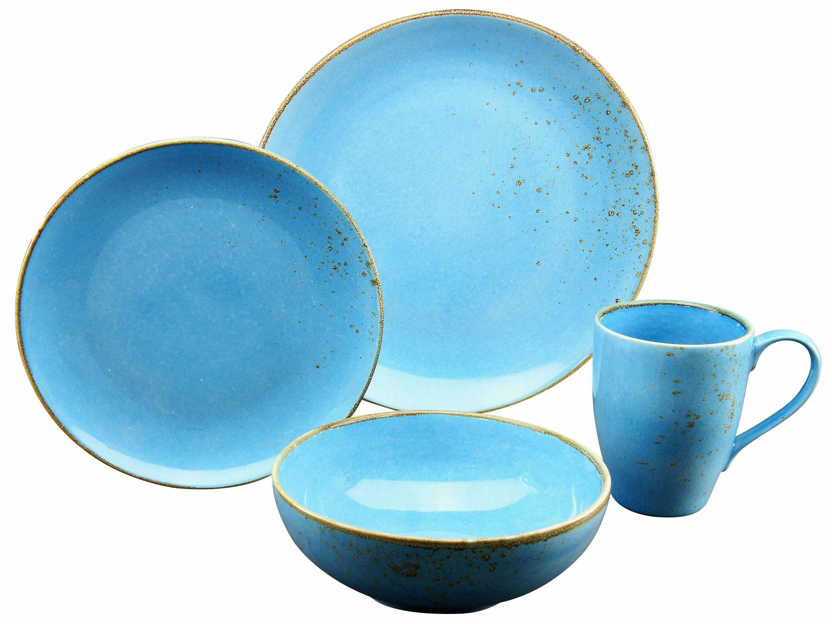 Blaues Geschirr Creatable Single Geschirr-set »mediterran« (4-tlg