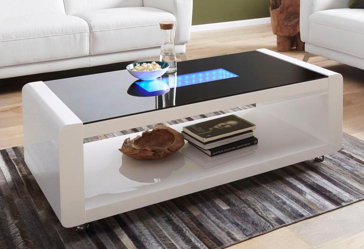Couchtisch Mit Led Beleuchtung Homexperts Couchtisch Mit 3d-led-beleuchtung, Auf Rollen