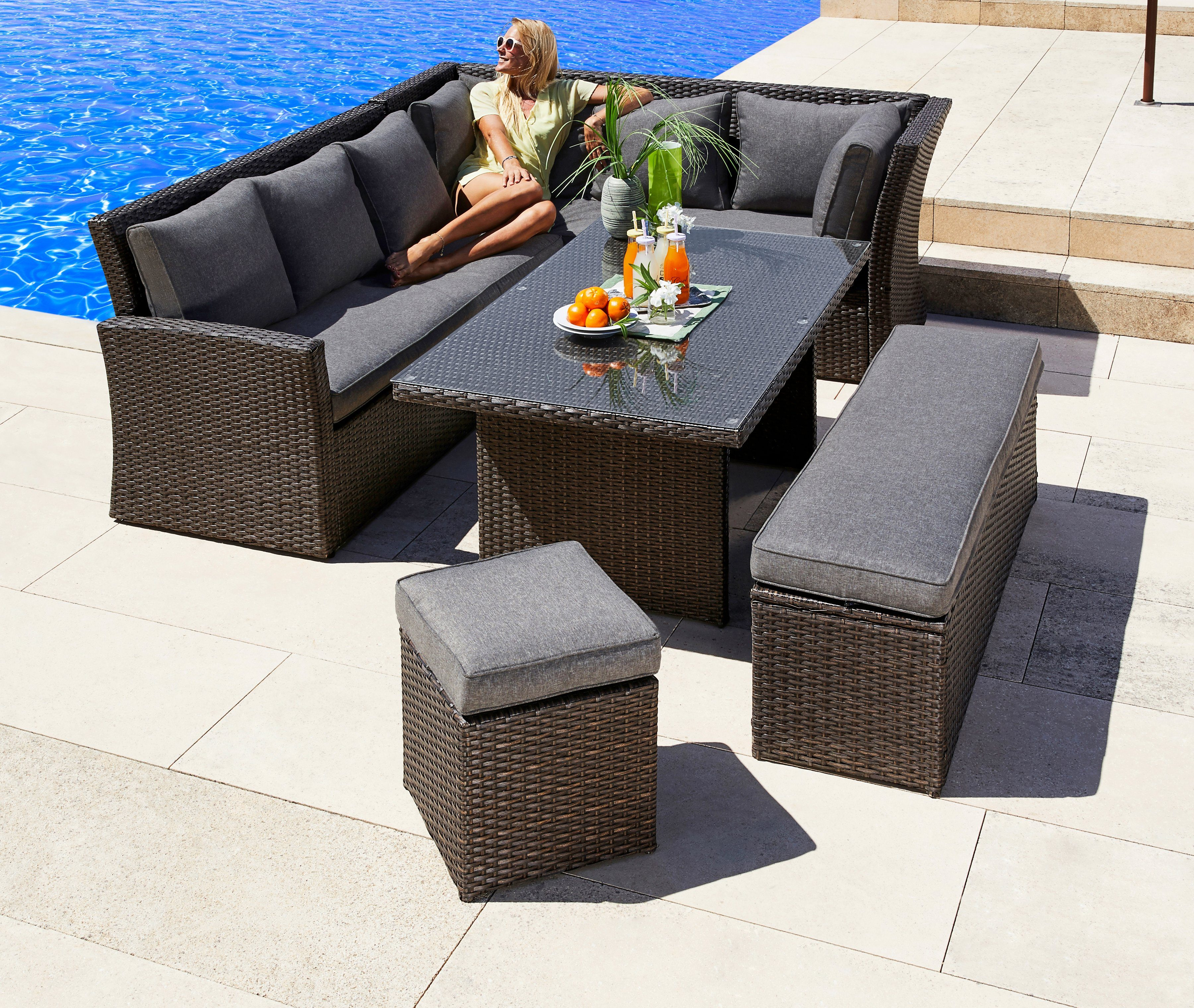 Sessel Hocker Set Gartenmöbelset »mallorca«, 17-tlg., 2x 3er-sofa, Bank