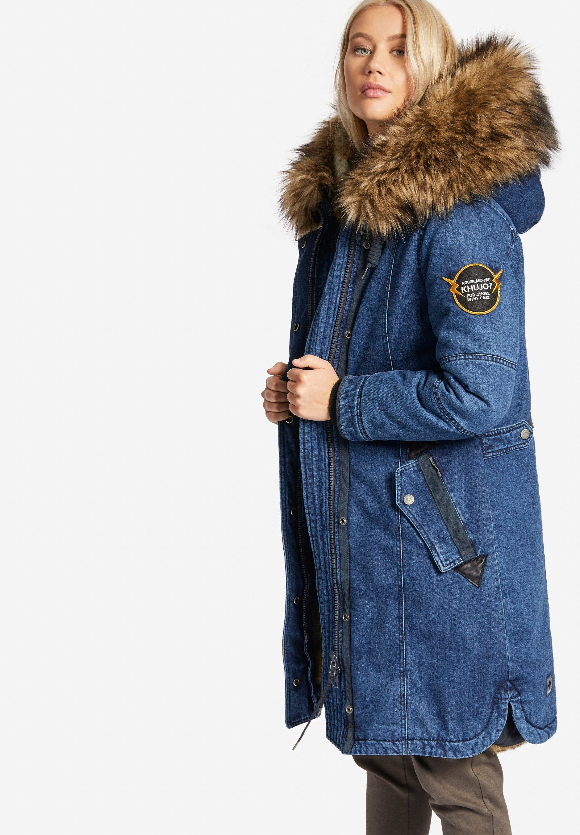 Möbel Für Dich Khujo Parka »meryem2 Denim With Detachable Inner Fur