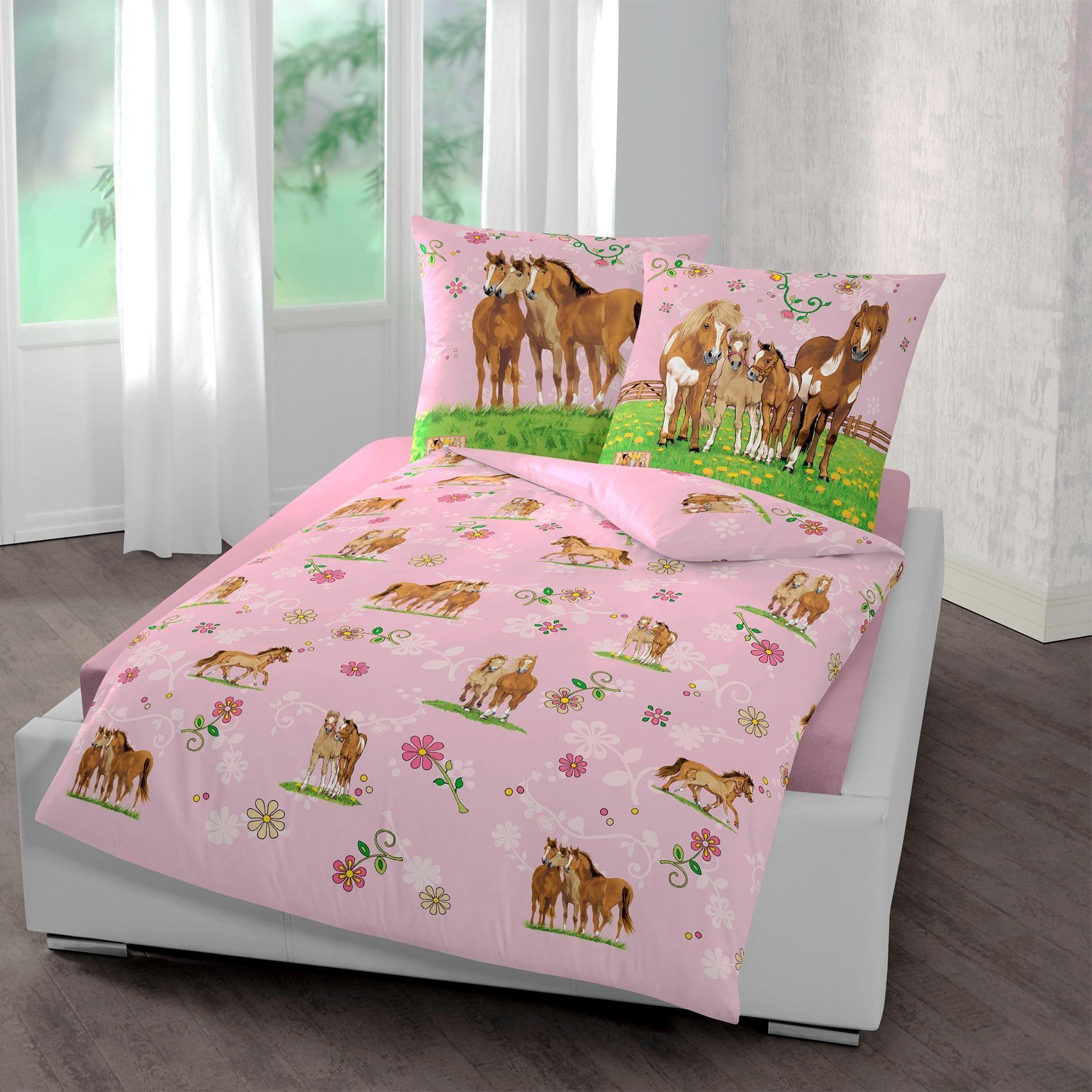 Biber Bettwaesche Kinder Pferde Wende Kinderbettwäsche Pony Biber