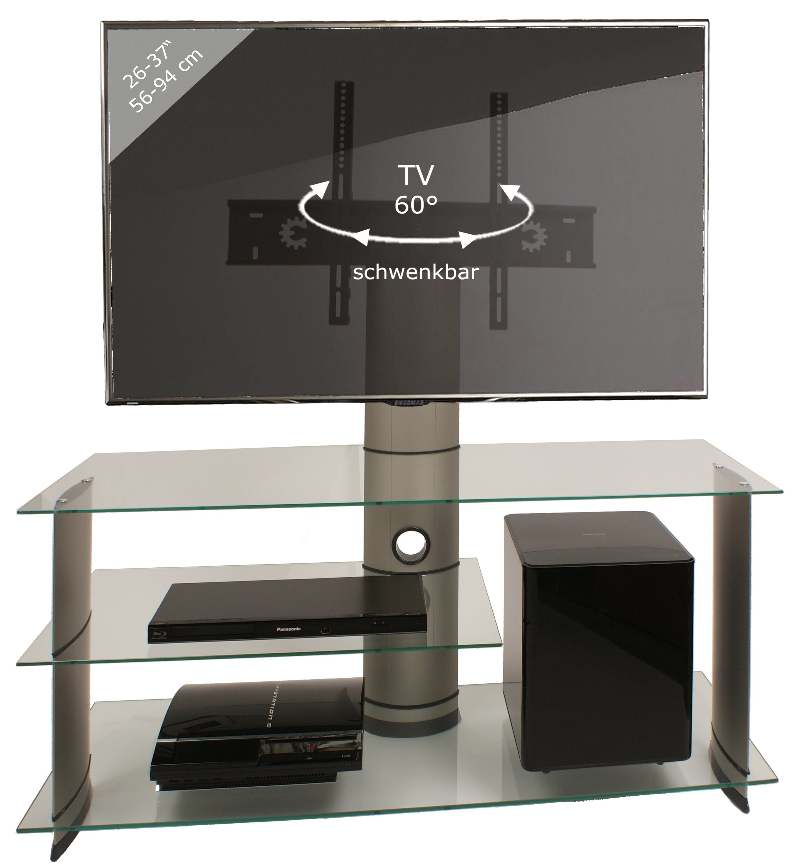 Tv Rack Glas Mit Rollen Vcm Tv-rack »tv Lowboard \