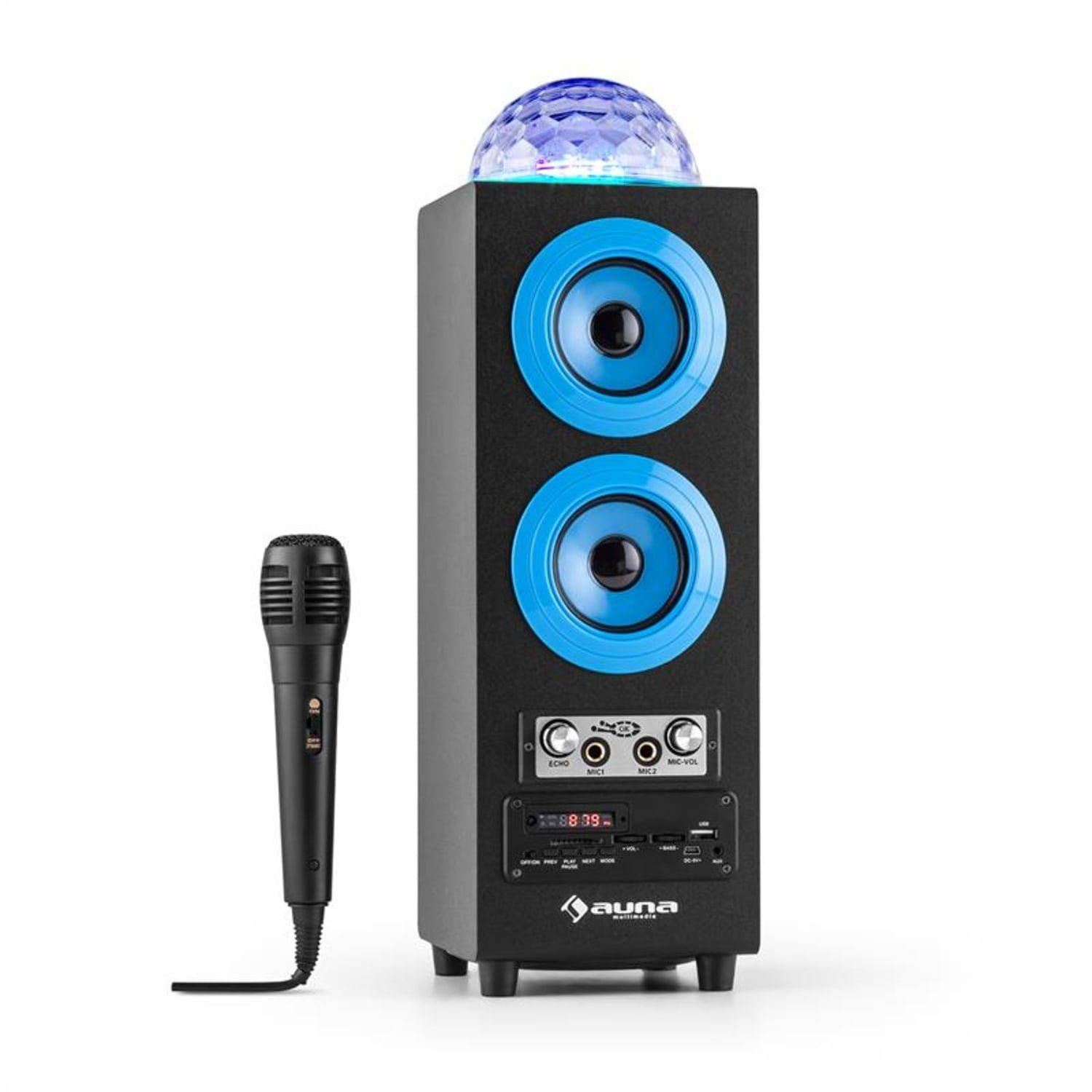 Auna Discostar Blue Portabler 2 1 Bluetooth Lautsprecher Usb Akku Led Mikro Bluetooth Speaker Online Kaufen Otto