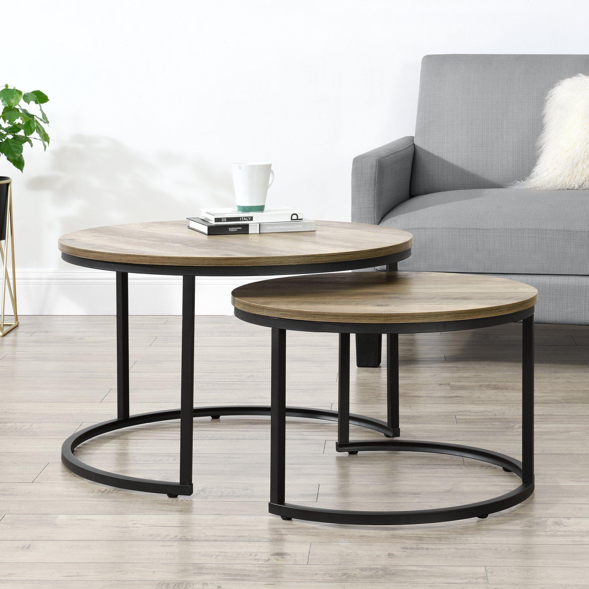 En Casa Couchtisch Set 2er Set Västervik Beistelltisch Rund Holzoptik Online Kaufen Otto