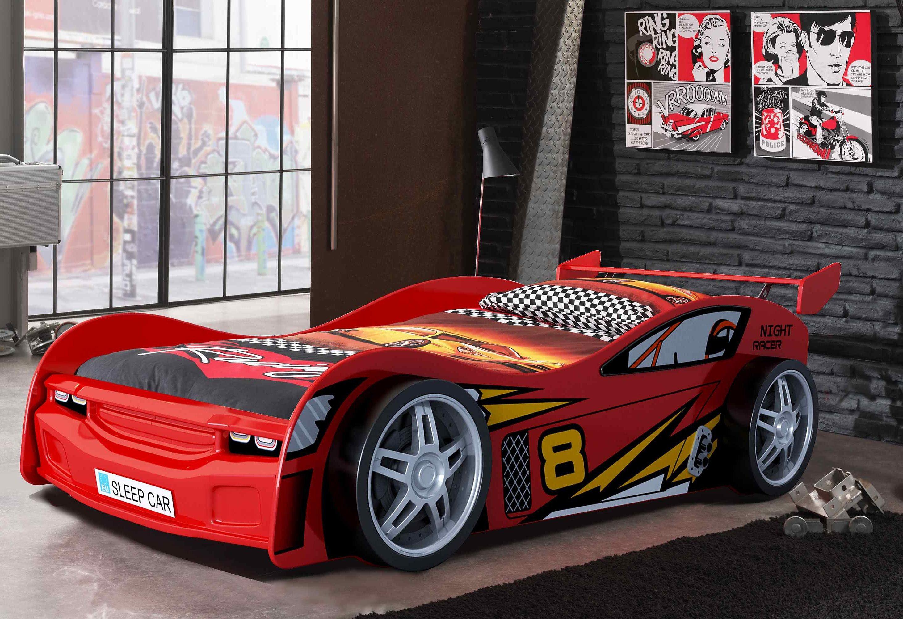 Autobett Suv Kinderbett Bett Kinderzimmer Bett In Rot 90x200