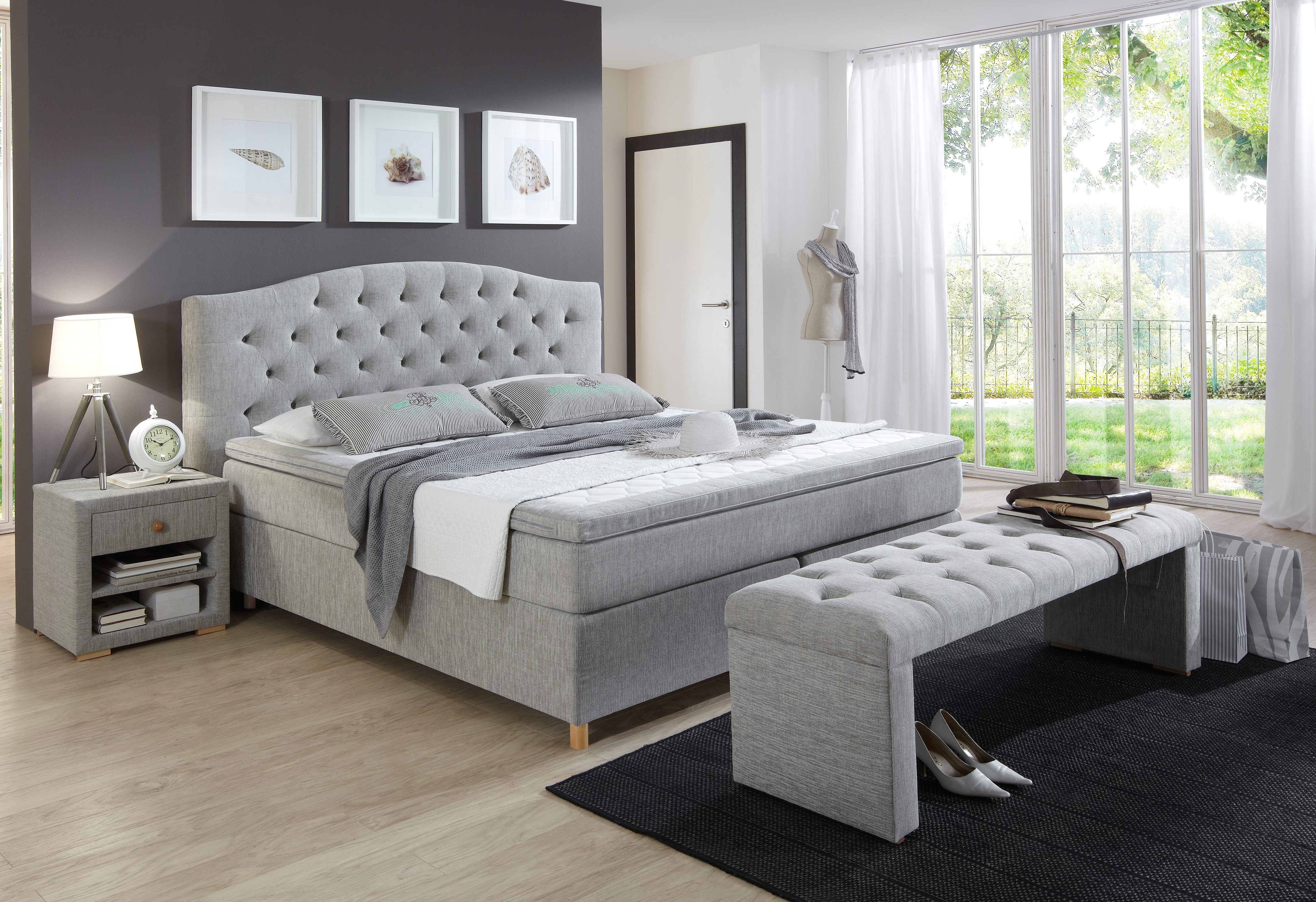 Grijs Bed Boxspring Incl Topper Claire