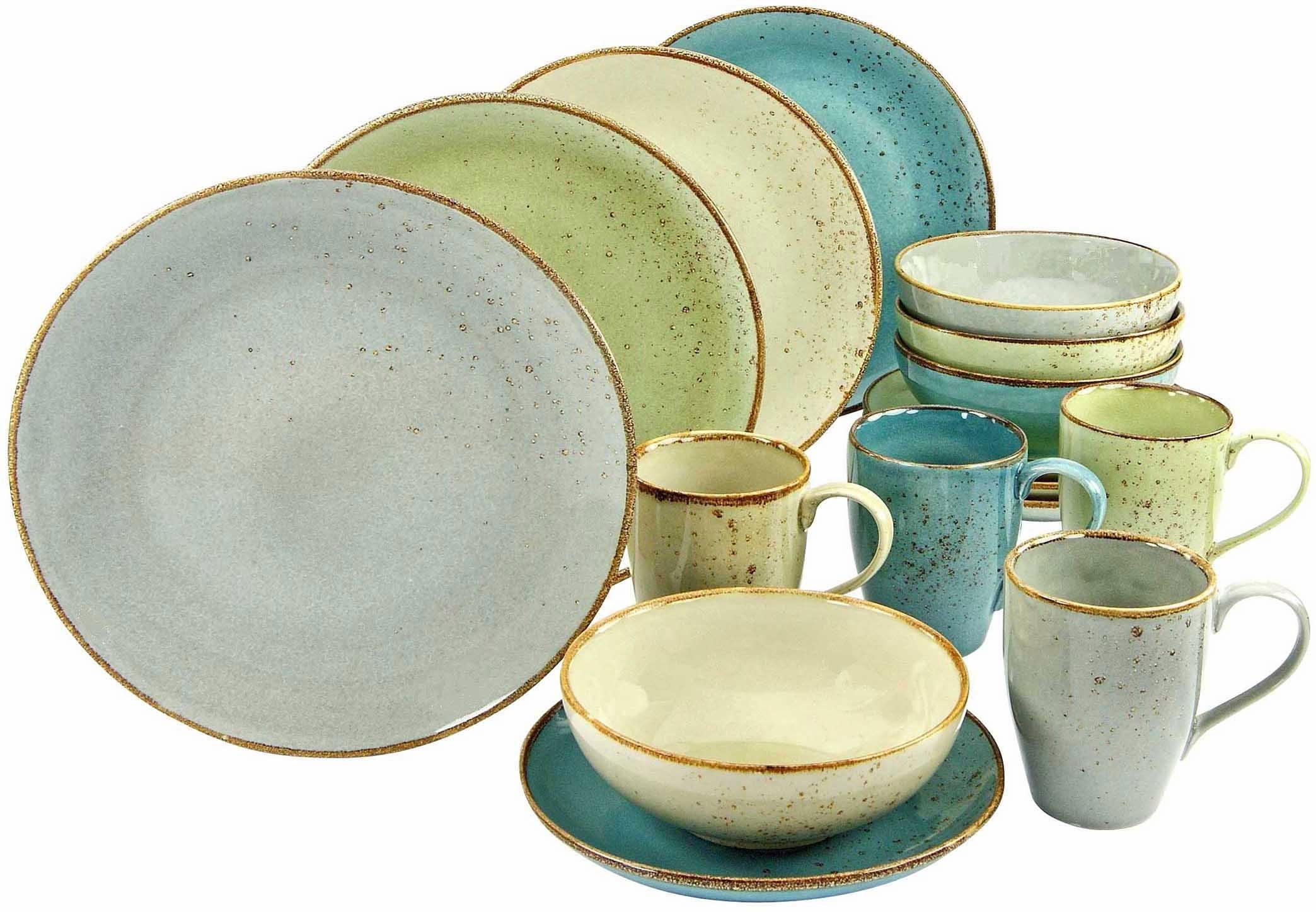 Essgeschirr Modern Creatable Combi Servies Aardewerk 16 Delig Nature