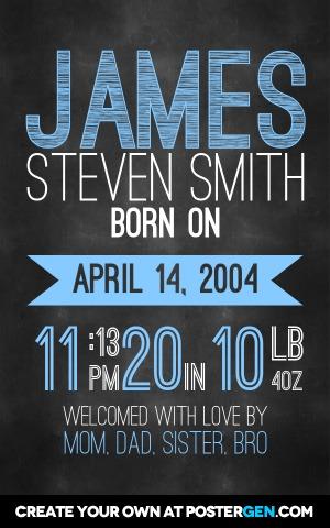 Chalkboard Birth Announcement - PosterGen
