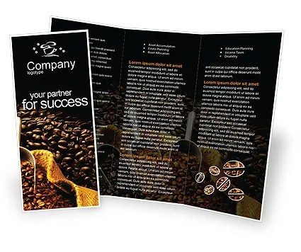 Coffee Beans In A Bag Brochure Template Design and Layout, Download