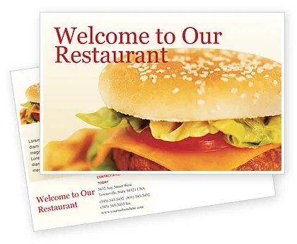 Fast Food Postcard Template in Microsoft Word, Adobe InDesign, 01741 - microsoft word postcard template