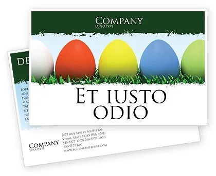 Easter Eggs Postcard Template in Microsoft Word, Adobe InDesign
