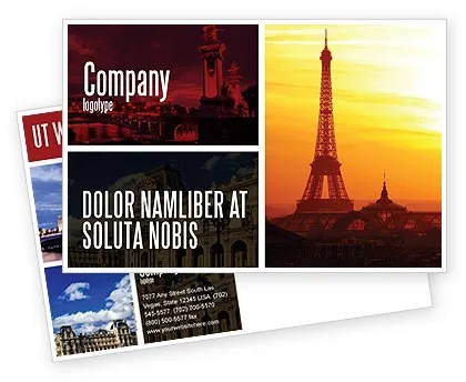 Paris In Collage Postcard Template in Microsoft Word, Adobe InDesign