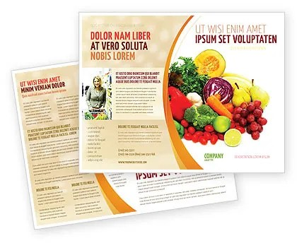 Fruits and Vegetables Brochure Template Design and Layout - free pamphlet design