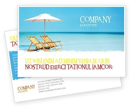 Beach Bench Postcard Template in Microsoft Word, Adobe InDesign