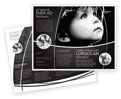 Child In Black And White Brochure Template Design and Layout - black and white flyer template