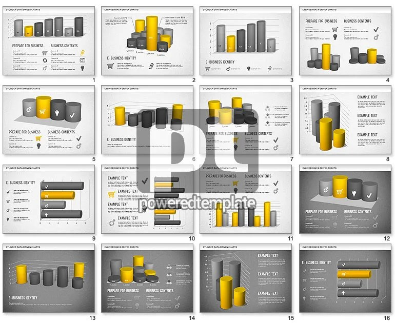 Cylinder Bar Chart for PowerPoint Presentations, Download Now 01251 - graph chart templates