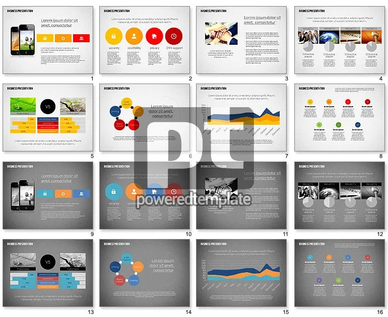 Modern Business Presentation in Flat Design for PowerPoint - free samples of company profiles