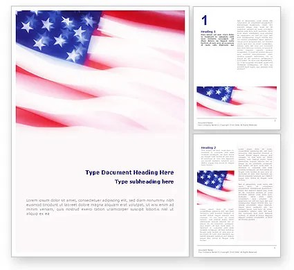 Flag of the United States of America Word Template 01851 - american flag background for word document