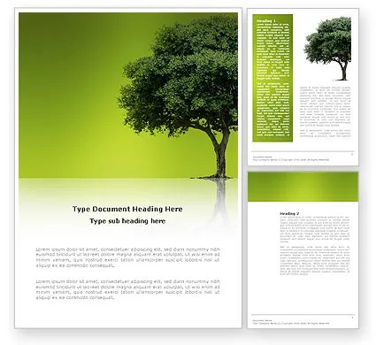 Green Tree On Light Olive Background Word Template 03109 - template word