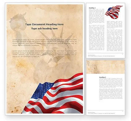 American Stars and Stripes Flag Word Template 03389