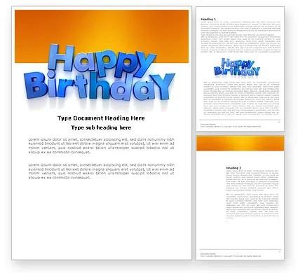 Happy Birthday Word Template 03817 PoweredTemplate