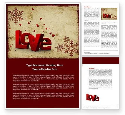 Free Christmas Love Word Template 04198 PoweredTemplate