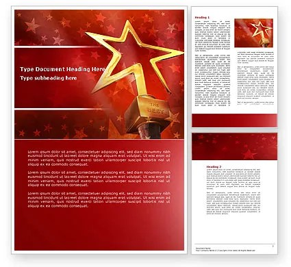 Star Of The Best Word Template 04316 PoweredTemplate