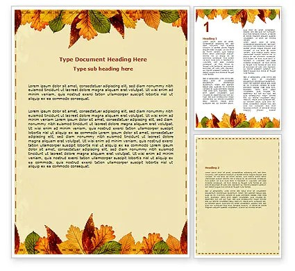 Autumn Leaves in Light Brown Palette Word Template 06487