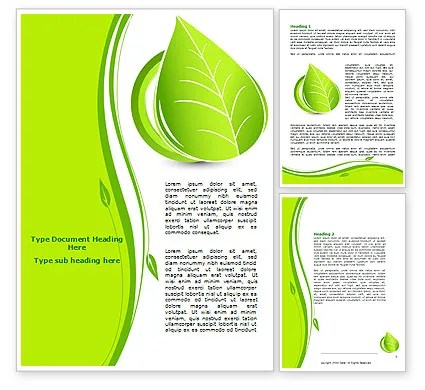 Tender Green Spring Leaf Word Template 07618 PoweredTemplate