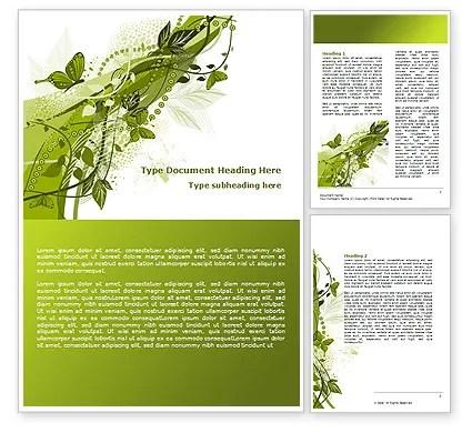Green Butterfly Theme Word Template 08009 PoweredTemplate