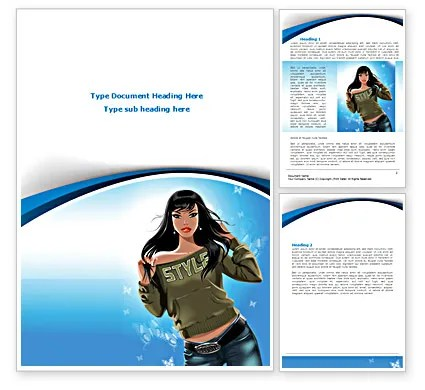 Stylish Girl Word Template 08265 PoweredTemplate