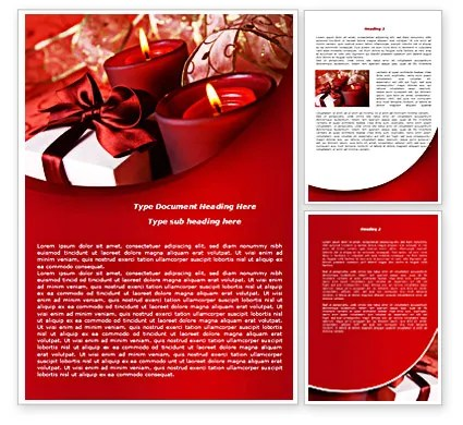 Red Christmas Candles Word Template 08295 PoweredTemplate - free christmas word templates