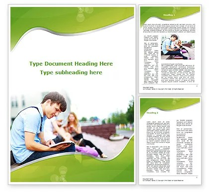 Student Reading a Book Word Template 09242 PoweredTemplate