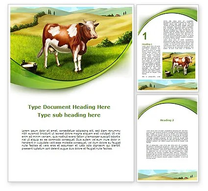 Cow On The Nature Word Template 09266 PoweredTemplate