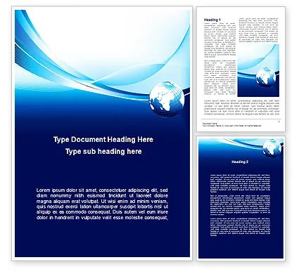 Abstract Blue With Globe Word Template 09765 PoweredTemplate
