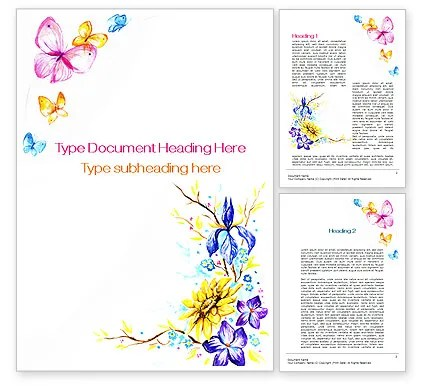 Butterfly Frame Word Template 09873 PoweredTemplate - Border Template For Word