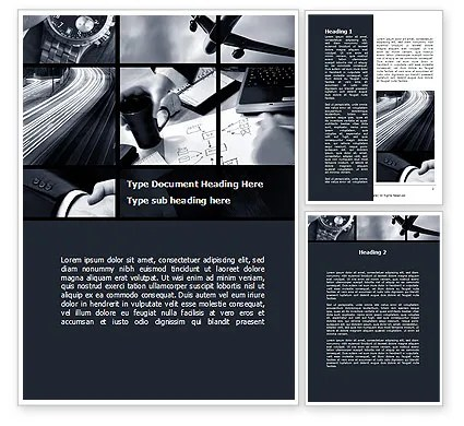 Business Activity Collage Word Template 10047 PoweredTemplate