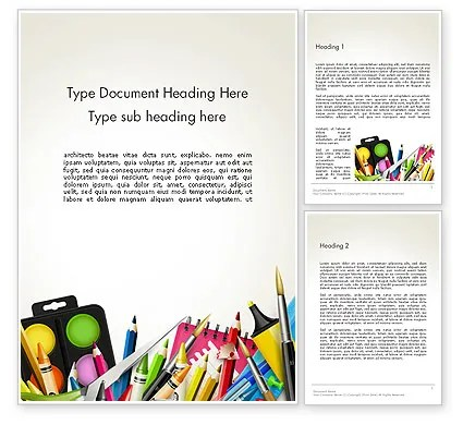 School Background with School Supplies Word Template 14213