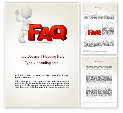 3D Small Person Standing Next to FAQ Word Template 14371