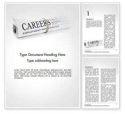 Rolled Newspaper with Headline Careers Word Template 14431 - Newspaper Headline Template