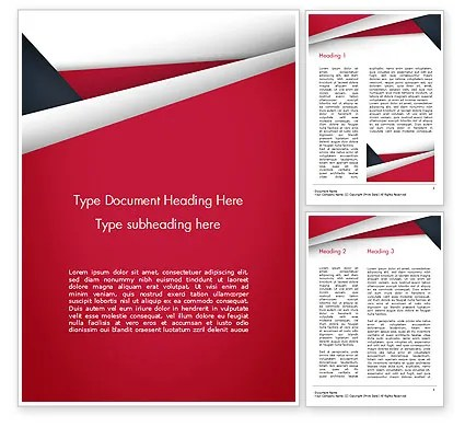 Abstract Background with Red and White Paper Layers Word Template