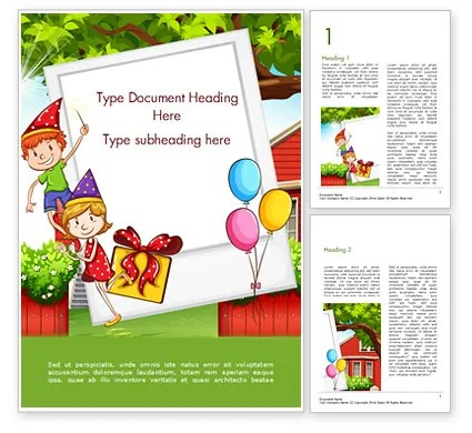 Children Having Birthday Party and Photo Frame Word Template 15202