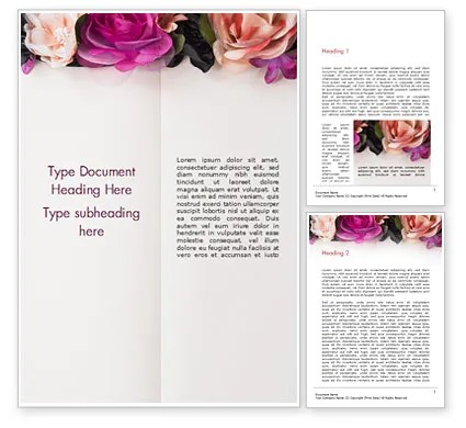 Notepad Decorated with Flowers Word Template 15424 PoweredTemplate