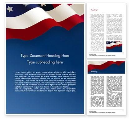 USA Flag on Blue Background Word Template 15443 PoweredTemplate