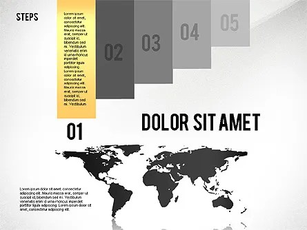 Staged Diagram with World Map for PowerPoint Presentations, Download