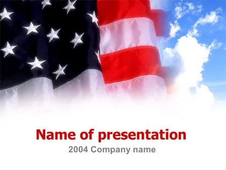 American Flag PowerPoint Template, Backgrounds 00051