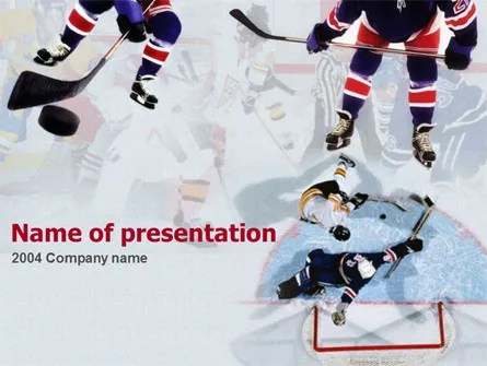 Ice Hockey Players PowerPoint Template, Backgrounds 00135
