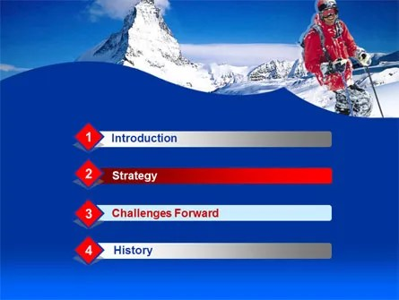 Mountain Skiing PowerPoint Template, Backgrounds 00234