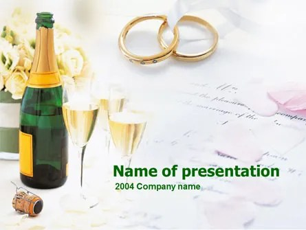 Wedding Rings And Champagne PowerPoint Template, Backgrounds 00281