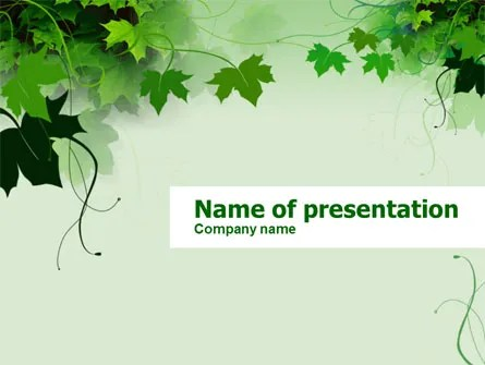 Grape Leaves PowerPoint Template, Backgrounds 00321
